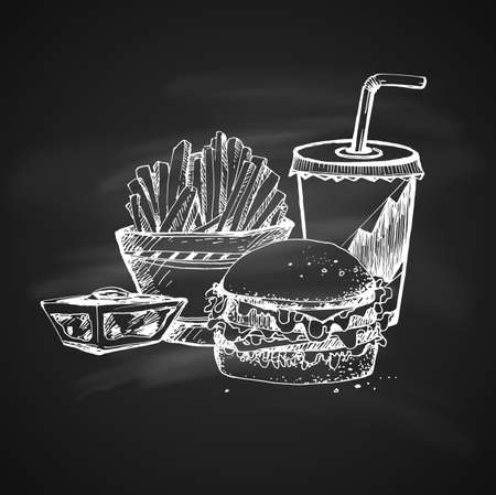Hand Drawn Chalk Sketch on Blackboard of Fast Food Theme. Vintage Sketch. Great for Label, Poster