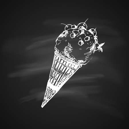 Hand Drawn Chalk Sketch on Blackboard of Ice Cream in a Cone. Vintage Sketch. Great for Banner, Label, Poster