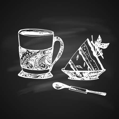 Hand Drawn Chalk Sketch on Blackboard of Tea Cup with Delicious Cheesecake and Teaspoon. Vintage Sketch. Great for Banner, Label, Poster