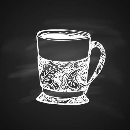 Hand Drawn Chalk Sketch on Blackboard of Tea Cup. Vintage Sketch.