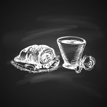 Hand Drawn Chalk Sketch on Blackboard of Coffe Cup and Delicious Croissant.