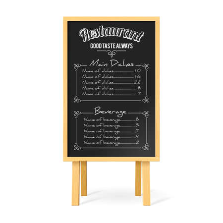 Menu Black Board with Wooden Easel and Restaurant Menu Template on White Background