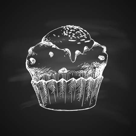 Hand Drawn Chalk Vintage Sketch on Blackboard of Cup Cake.
