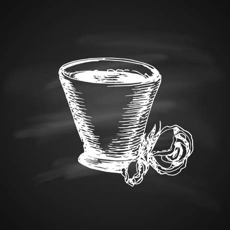 Hand Drawn Chalk Vintage Sketch on Blackboard of Coffee Cup. Illustration