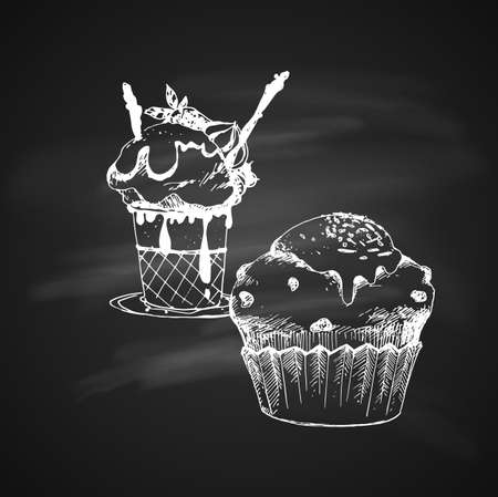 Hand Drawn Chalk Vintage Sketch on Blackboard of Cake and Ice Cream in Bowl.