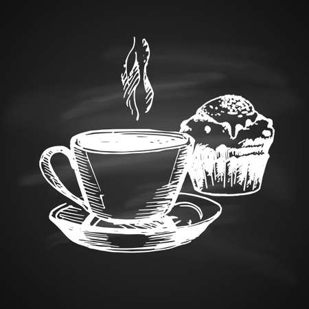 Hand Drawn Chalk Vintage Sketch on Blackboard of Coffe Cup and Cake. Illustration