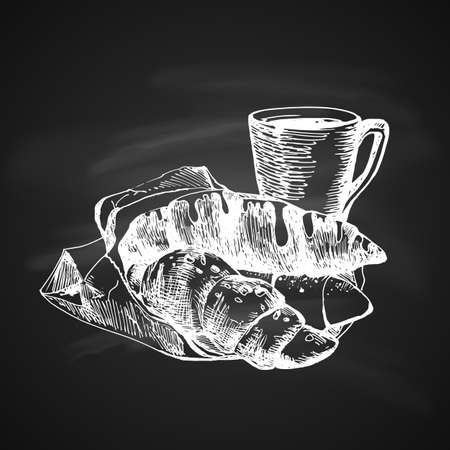 Hand Drawn Chalk Sketch on Blackboard of Croissants and Coffee Cup.