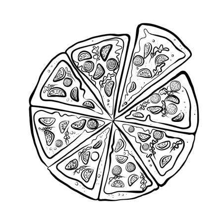 Hand drawn sketch of different pizza slices set. Illustration