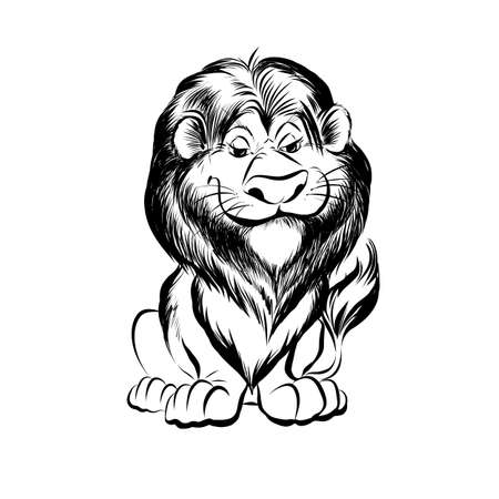 Hand drawn sketch of cartoon funny lion character. Illustration