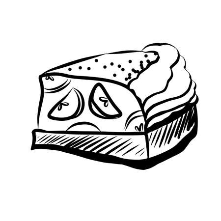 Hand Drawn Sketch of Apple Pie Piece. Hand Drawn Sketch of Food Elements Illustration