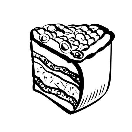Hand drawn sketch of berry cake. Illustration