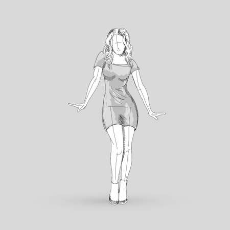 Modern Style Dancer Posing Sketch of Dancing Girl Isolated on Gray Background