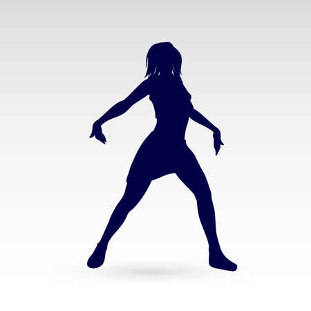 Modern Style Dancer Posing Silhouette of Dancing Girl on a Gray Background