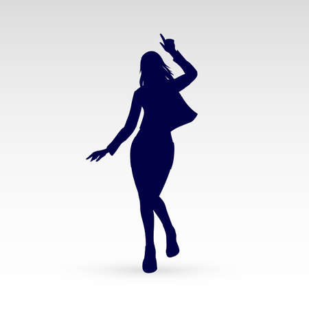 Silhouette of a Modern Dancer Poses in Front of the Gray Background for Design