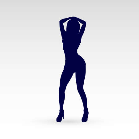 Modern Style Dancer Posing Silhouette of Lonely Girl Dances with Her Arms Raised