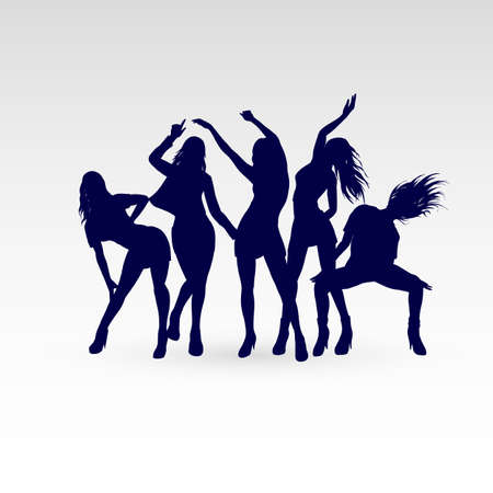 Silhouettes of Dancing Girls Set Illustration