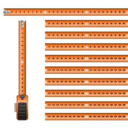 Measuring Graphic Design Orange Roulette Centimeter Scale on the White background. Illustration