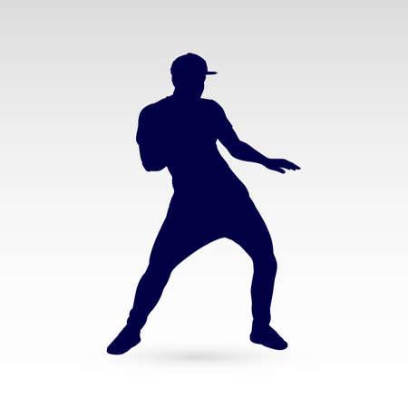 Modern Style Dancer Silhouette of a Man Dancer Hip Hop Choreography on Gray