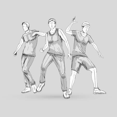 Set of Sketch Dancing Man in Different Poses on the Dance Floor