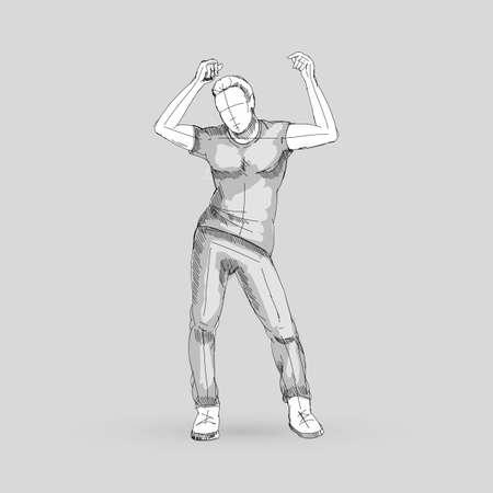Modern Style Dancer Posing Sketch of a Man Dancer on a Gray Illustration