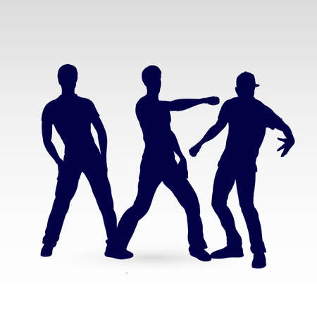 Set of Silhouette Dancing Males in Different Poses on the Dance Floor. Hip Hop Choreography