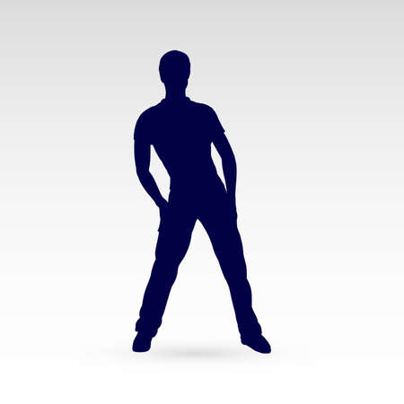 hip hop silhouette: Modern Style Dancer Man Posing Silhouette on a Gray Background