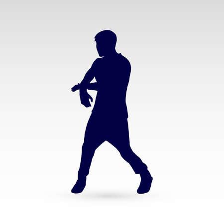 hip hop silhouette: Modern Dancer Silhouette of a Man Dancer Hip Hop Choreography Illustration