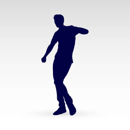 Modern Style Dancer Posing Silhouette of a Man Dancer Hip Hop Choreography on a Gray Ilustrace
