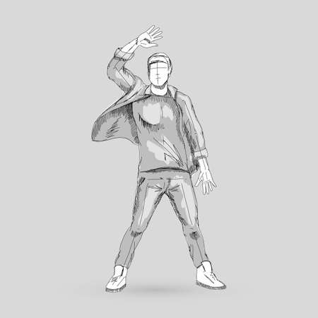 Sketch of a Modern Dancer Man Poses in Front of the Gray Background for Creative Design