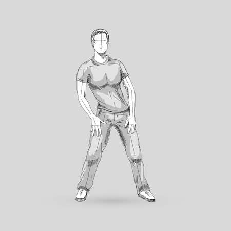 Modern Style Dancer Man Posing Sketch on a Gray Background