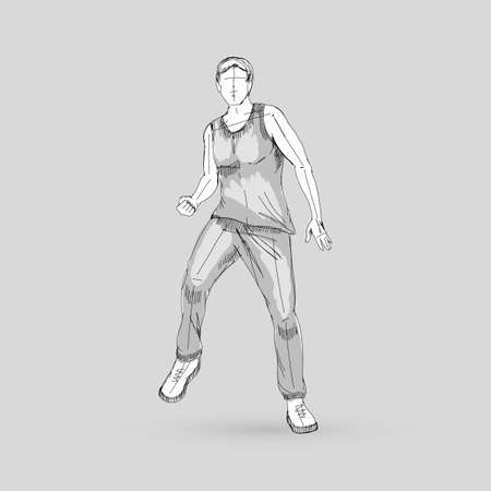 Modern Style Dancer Man Sketch on a Gray Background