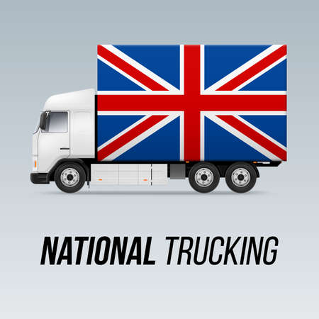 Symbol of National Delivery Truck with Flag of Great Britain. National Trucking Icon and British flag Illustration
