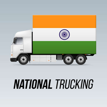 Symbol of National Delivery Truck with Flag of India. National Trucking Icon and Indian flag Illustration