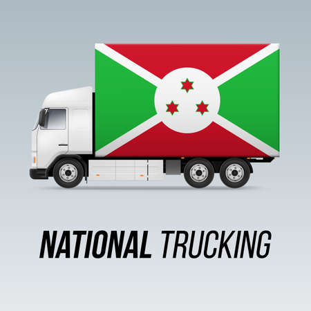 Symbol of National Delivery Truck with Flag of Burundi.