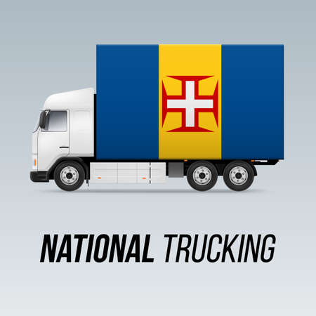 Symbol of National Delivery Truck with Flag of Madeira