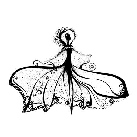 Woman with Abstract Butterfly Dress. Style Beauty Ink Art. Fashion Background