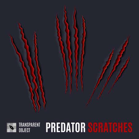 laceration: Animal Red Scratches on Dark Background. Paper Claws Animal Scratching. Animal Predator Paw Claw, Knife Scratch Trace. Horror Slash Trace.