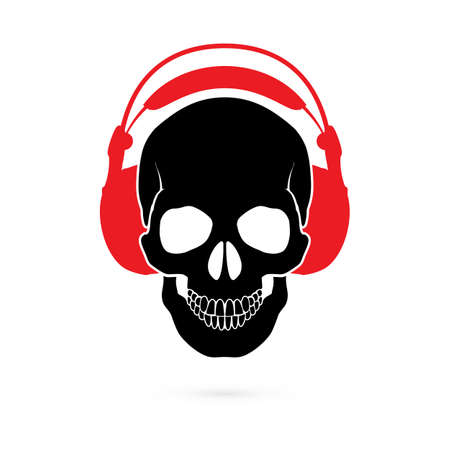 Illustration of Black Human Skull with Headphones on White. Music Skull Logo. Sound Studio Logo. Record Studio Logo Illustration