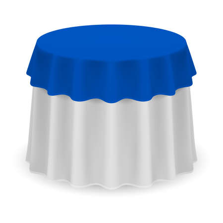Isolated Blank Round Table with Tablecloth in White and Blue Illustration