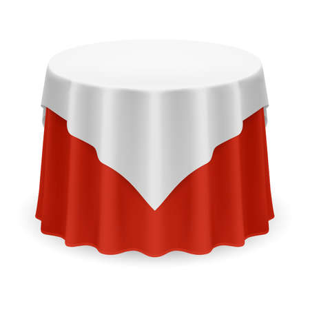 Isolated Blank Round Table with Tablecloth in White and Red Colors