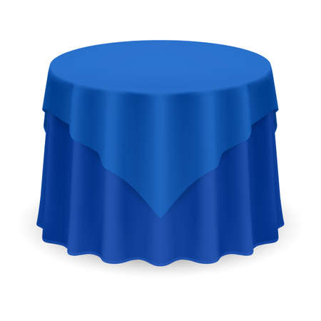 Isolated Blank Round Table with Tablecloth in Blue Color