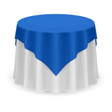 Isolated Blank Round Table with Tablecloth in Blue and White Colors