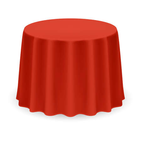 Isolated Blank Round Table with Tablecloth in Red Color