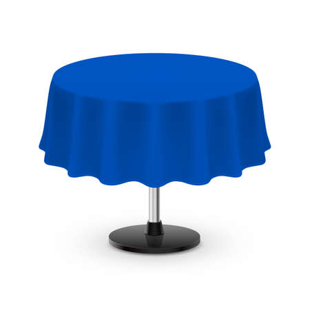 Isolated Blank Round Table with Tablecloth in Blue on White