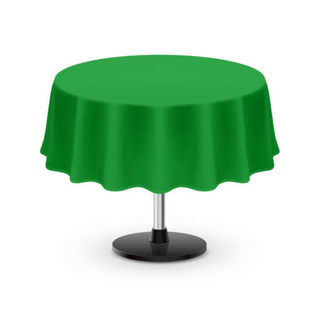Isolated Blank Round Table with Tablecloth in Green