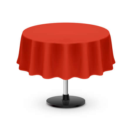 Isolated Blank Round Table with Tablecloth in Red on White Background
