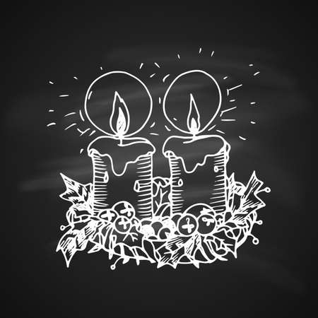 Chalk Drawing Artistic Doodle Icon. Two Christmas Candles. New Year Vintage Design for Christmas Card or Invitation on Chalkboard Illustration