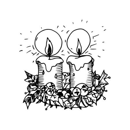 Illustration of Artistic Doodle Icon. Two Christmas Candles. New Year Vintage Design for Christmas Card or Invitation on White Vectores