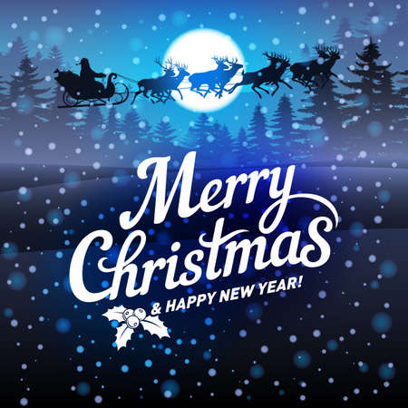 Merry Christmas and Happy New Year Greeting Card with Santa Claus Riding in a Sleigh in Blue Colors