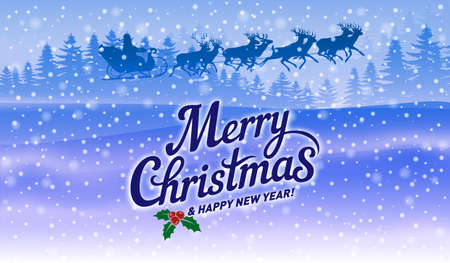 The Inscription Merry Christmas, Falling Snow and Santa with Reindeers on Blue Background Illustration